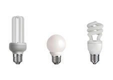 Three realistic bulbs Stock Image