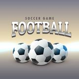 Three realistic football design background. Vector illustration Royalty Free Stock Image