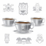 Three realistic mock up cup of coffee and set of silhouette labels on white background. Vector illustration one cup sharp and two cups depth of field stock illustration