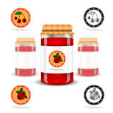 Three realistic mock up glass jar with jam home preservation and fruit labels on white background Royalty Free Stock Images