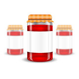 Three realistic mock up glass jar with jam home preservation on white background. Vector illustration one jar sharp and two jars depth of field Royalty Free Stock Images