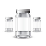 Three realistic mock up glass or plastic empty jar on white background. Vector illustration one jar sharp and two jars depth of field Stock Photo