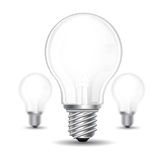 Three realistic mock up light bulb or lamp on white background Stock Photo