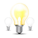 Three realistic mock up light bulb or lamp on white background Royalty Free Stock Image
