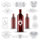 Three realistic mock up red bottle of wine and set of silhouette labels on white background Stock Images