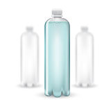 Three realistic mock up white plastic bottle with clean blue water on white background. Vector illustration one bottle sharp and two bottles depth of field Stock Photo