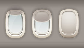 Three Realistic Portholes Of Airplane. From white plastic with open and closed window shades vector illustration Royalty Free Stock Photos