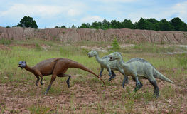 The three of reconstructions of Mesozoic reptiles and amphibians Stock Photo