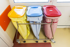 Three recycle bins in a hospital. For different kinds of waste Royalty Free Stock Photography