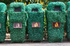 Three recycle bins. At public park Stock Images