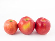 Three red apple. On a white background royalty free stock photography