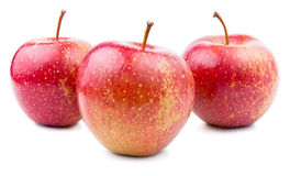Three Red Apple Isolated Stock Images