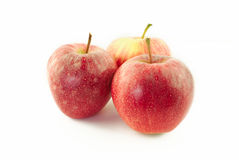 Three red apples Stock Images