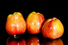 Three red apples stock image
