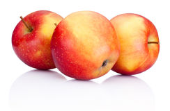 Three red apples fruits on white background Stock Photo