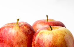 Three red apples royal gala Royalty Free Stock Photography