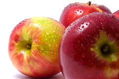 Three red apples. On white background Royalty Free Stock Image