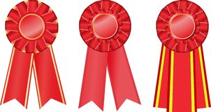 Three red  award ribbons Royalty Free Stock Images