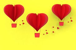 Three Red balloons from cut paper heart on yellow stock images