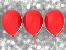 Three red balloons Royalty Free Stock Image