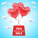 Three red balloons sale 70. Three red balloons in the shape of a heart lifted sky with mega sale package gift vector illustration background blue sky clouds in Royalty Free Stock Photos