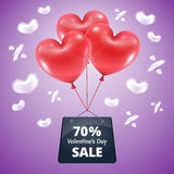 Three red balloons sale 70. Three red balloons in the shape of a heart lifted sky with mega sale package gift vector illustration background blue sky clouds in Stock Photography