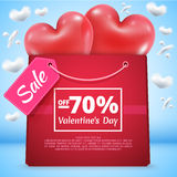 Three red balloons sale 70. Three red balloons in the shape of a heart with mega sale bag present package gift vector illustration background blue sky clouds in Stock Images