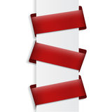Three red banners on blank Royalty Free Stock Photo