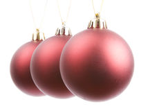 Three Red Baubles Stock Photos