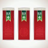 Three red Belarus vertical banners with ribbon Stock Photo