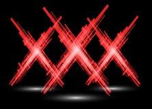 Three red X on a black background. Raster. Raster Stock Photos