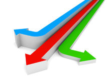 Three red blue green arrows showing three different directions Royalty Free Stock Photography