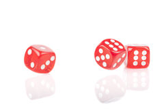 Three Red Bouncing Dice Royalty Free Stock Images
