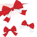 Three red bows isolated on the white Royalty Free Stock Images