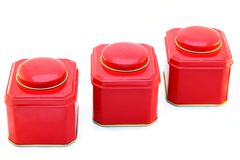 Three red boxes. Picture of a three red boxes isolated on white Royalty Free Stock Photography