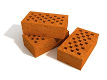 Three red bricks on white background Stock Photo