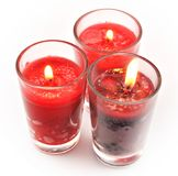 Three red candles Royalty Free Stock Photo