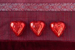 Three Red Candy Hearts Royalty Free Stock Image