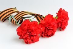 Three red carnations tied with Saint George ribbon on gray Stock Photography