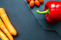 Three Red Carrots and Red Chilli Pepper Royalty Free Stock Image