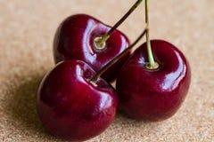Three Red Cherries. Closeup of three red cherries on stalks Royalty Free Stock Photography