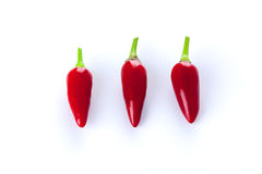 Three red chili peppers Royalty Free Stock Photography