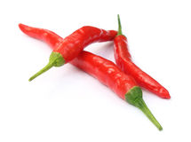 Three red chilies Royalty Free Stock Images