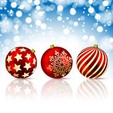 Three Red Christmas Ball Royalty Free Stock Images