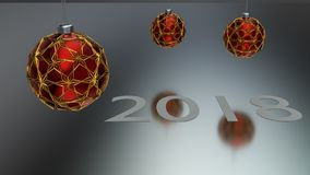 Three red christmas ball enclosed with gold ornaments hanging over grey reflective ground. White year number 2018 made of paper l. Aid on the ground.nHappy new vector illustration