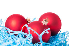 Three red Christmas ball Stock Images