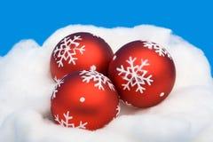 Three red Christmas balls Royalty Free Stock Photos