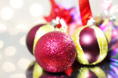 Three red Christmas balls Royalty Free Stock Photos