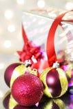 Three red Christmas balls Stock Photos
