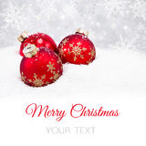 Three red christmas balls Royalty Free Stock Photography